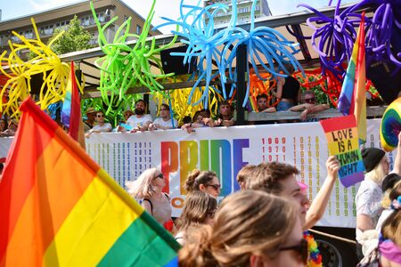 Warsaw, Poland. 8 June 2019. Warsaw's Equality Parade.The largest gay pride parade in central and eastern Europe brought thousands of people to the streets of Warsaw. Foto de archivo - 128668178