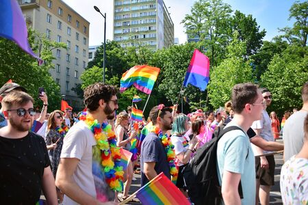 Warsaw, Poland. 8 June 2019. Warsaw's Equality Parade.The largest gay pride parade in central and eastern Europe brought thousands of people to the streets of Warsaw. Foto de archivo - 128668182