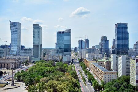 Warsaw, Poland. 18 June 2019. Aerial view downtown business skyscrapers, city center. Warsaw downtown aerial view.
