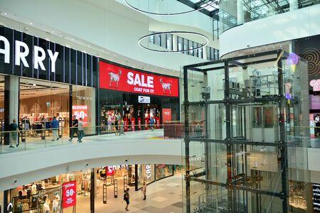 Warsaw, Poland. 18 June 2019. Interior of modern shopping center Galeria Mlociny. 에디토리얼