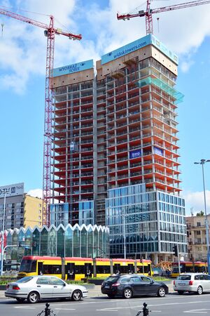 Warsaw, Poland. July 18, 2019. Construction of the Widok Towers office building. 에디토리얼