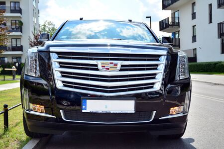 Warsaw, Poland. July 22, 2019. Motor car Cadillac Escalade at the city street. Cadillac Escalade SUV commands attention with its superior craftsmanship and iconic design.