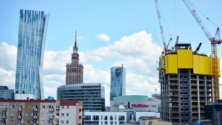 Warsaw, Poland. July 26, 2019. Aerial view of downtown business skyscrapers in Warsaw Imagens - 128668584