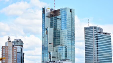 Warsaw, Poland. July 26, 2019. Aerial view of downtown business skyscrapers in Warsaw Imagens - 128668583