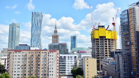 Warsaw, Poland. July 26, 2019. Aerial view of downtown business skyscrapers in Warsaw