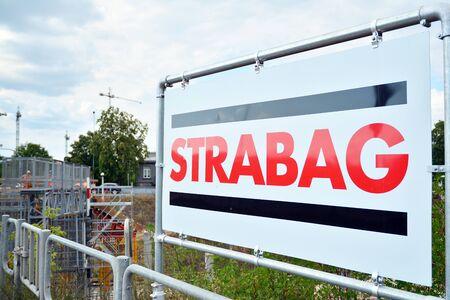 Warsaw, Poland. July 26, 2019. Sign Strabag. Company signboard Strabag.