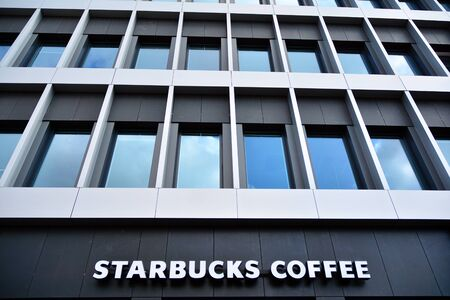 Szczecin, Poland. 2 August 2019. Sign Starbucks Coffee. Company signboard Starbucks Coffee.
