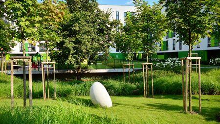 Warsaw, Poland. 6 August 2019. Artistic Zoliborz. Modern apartment buildings 에디토리얼