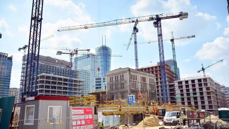 Warsaw, Poland. August 6, 2019. Construction of the Browary Warszawskie. Office and residential buildings.