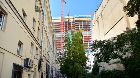 Warsaw, Poland. August 9, 2019. Construction of the Widok Towers office building. Publikacyjne