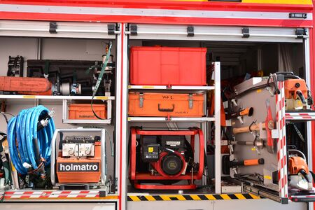 Warsaw, Poland. 24 August 2019. Fire engine equipment Renault Trucks. Fire hoses and other equipment in a truck to be used by firefighters. Banque d'images - 130076780