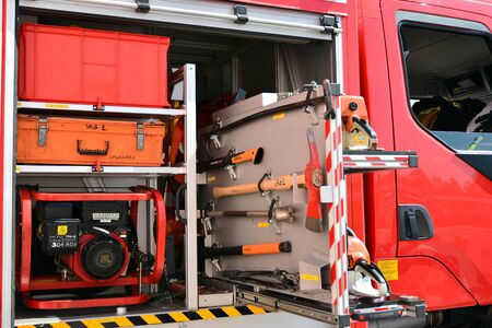 Warsaw, Poland. 24 August 2019. Fire engine equipment Renault Trucks. Fire hoses and other equipment in a truck to be used by firefighters. Banque d'images - 130076778