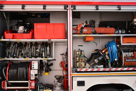 Warsaw, Poland. 24 August 2019. Fire engine equipment Renault Trucks. Fire hoses and other equipment in a truck to be used by firefighters. Banque d'images - 130076781