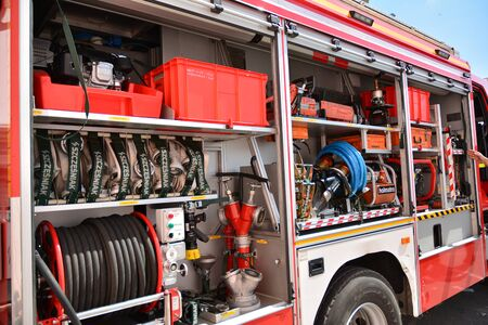 Warsaw, Poland. 24 August 2019. Fire engine equipment Renault Trucks. Fire hoses and other equipment in a truck to be used by firefighters.