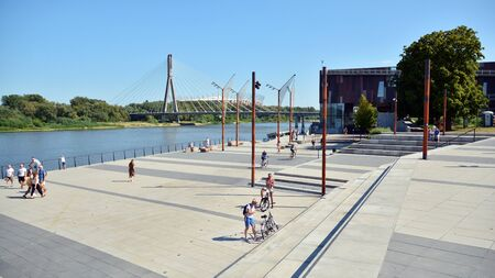 Warsaw, Poland. 24 August 2019. Vistulan Boulevards on the western side of the River Vistula in Warsaw. The promenade at the bank of the Vistula river
