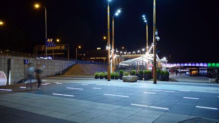 Warsaw, Poland. 25 August 2019. Vistulan Boulevards on the western side of the River Vistula in Warsaw in night. The promenade at the bank of the Vistula river in night.