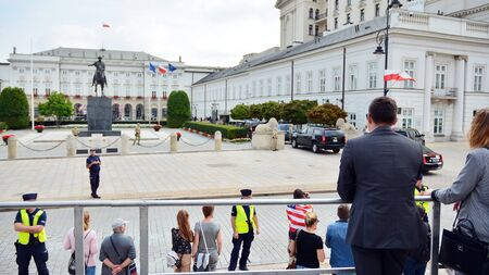 Warsaw, Poland. 2 September 2019. US presidential Cadillac limousine (known as the Beast) in front of the presidential palace in Warsaw