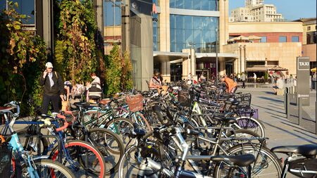Warsaw, Poland. September 4, 2019. Arkadia shopping center. Bicycles arranged in a row.