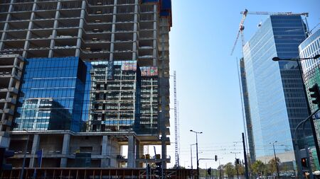 Warsaw, Poland. 22 September 2019. Construction of the Unit Tower office building. 에디토리얼