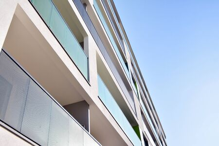 Modern apartment building exterior in sunny day Stock fotó