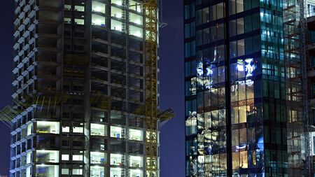 The building under construction illuminated at night Stock fotó - 133484830
