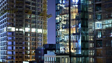The building under construction illuminated at night Stock fotó - 133484841