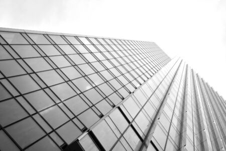 Abstract view of a skyscraper with sunlight. Black and white. Stockfoto