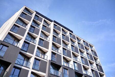 Detail of modern residential flat apartment building exterior. Fragment of new luxury house and home complex. Stock fotó - 133966848