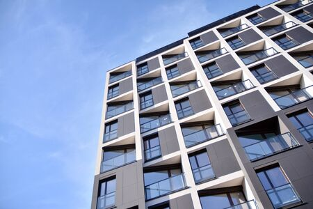 Detail of modern residential flat apartment building exterior. Fragment of new luxury house and home complex. Stock fotó - 133966851