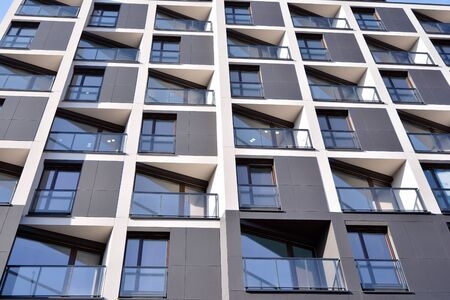 Detail of modern residential flat apartment building exterior. Fragment of new luxury house and home complex. Stock fotó - 133966852