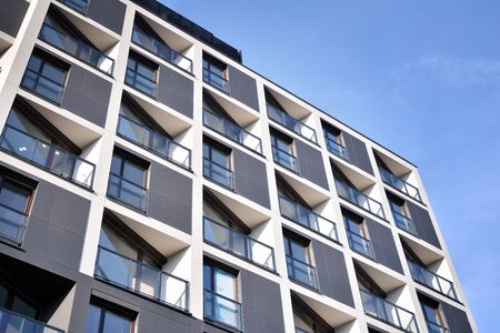 Detail of modern residential flat apartment building exterior. Fragment of new luxury house and home complex. Stock fotó - 133966850