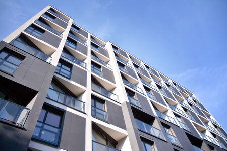 Detail of modern residential flat apartment building exterior. Fragment of new luxury house and home complex. Stock fotó - 133966853