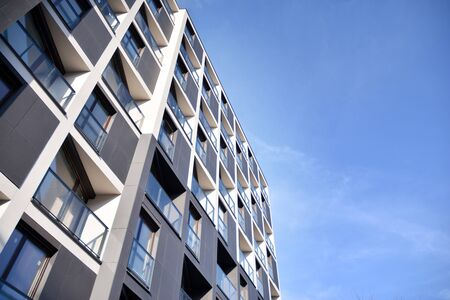 Detail of modern residential flat apartment building exterior. Fragment of new luxury house and home complex. Stock fotó