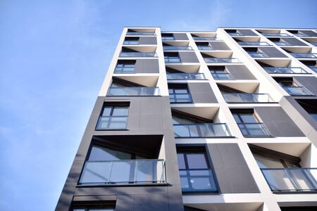 Detail of modern residential flat apartment building exterior. Fragment of new luxury house and home complex. Stock fotó - 133966855