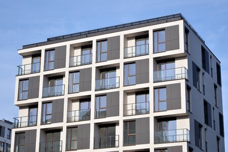 Detail of modern residential flat apartment building exterior. Fragment of new luxury house and home complex. Stock fotó - 133966856