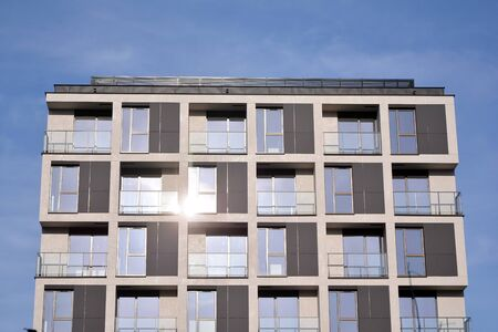 Detail of modern residential flat apartment building exterior. Fragment of new luxury house and home complex. Stock fotó - 133966858