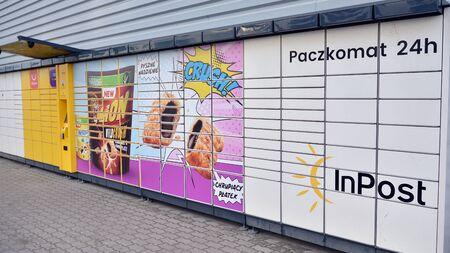 Warsaw, Poland. 15 December 2019. Yellow automated parcel terminal InPost. Sajtókép