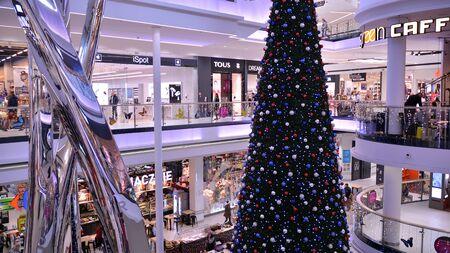 Warsaw, Poland. December 15, 2019. Christmas decoration in Galeria Polnocna shopping mall.