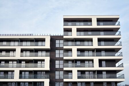 Modern and new apartment building. Multistoried modern, new and stylish living block of flats. 写真素材