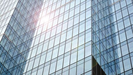 Modern office building detail, glass surface with sunlight Stock fotó - 137971695