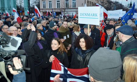 Warsaw, Poland. 11 January 2020. March of 1000 Gowns. Judges and lawyers from across Europe protest judicial takeover in Warsaw. March in defense of human rights and the rule of law in Poland. Redakční