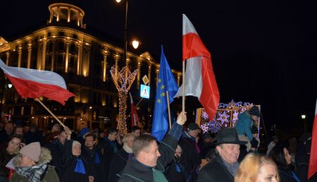 Warsaw, Poland. 11 January 2020. March of 1000 Gowns. Judges and lawyers from across Europe protest judicial takeover in Warsaw. March in defense of human rights and the rule of law in Poland.