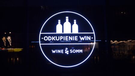 Warsaw, Poland. 21 January 2020. Sign Wine Somm. Company signboard Wine Somm.