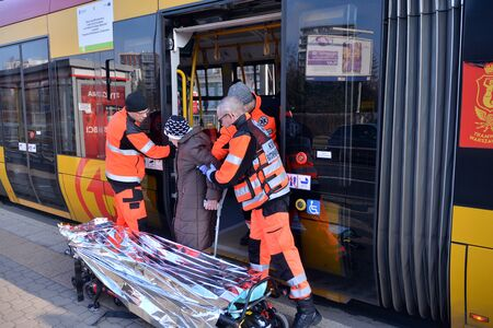 Warsaw, Poland. 24 January 2020. Accident in tram.Taking the victim by emergency services.