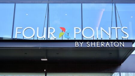 Warsaw, Poland. 24 January 2020. Sign Four Points by Sheraton. Company signboard Four Points by Sheraton.