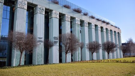 Warsaw, Poland. January 7, 2020. Modern building of Supreme Court of Poland. The highest instance of the Court in Poland. Editorial