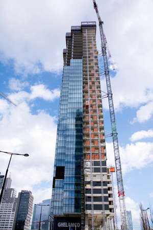 Warsaw, Poland. March 13, 2020. Construction of the Unit Tower office building.