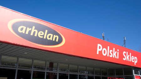 Warsaw, Poland. 15 March 2020. Sign Arhelan - Polish Store. Company signboard Arhelan - Polish Store. Sajtókép