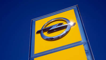 Warsaw, Poland. 15 March 2020. Sign Opel. Company signboard Opel.