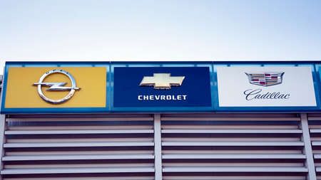 Warsaw, Poland. 15 March 2020. Sign Opel, Chevrolet, Cadillac. Company signboard Opel, Chevrolet, Cadillac.